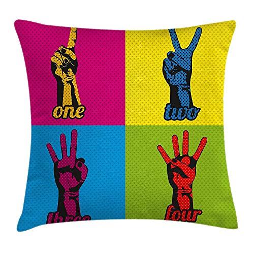 artyly Kissen KissenbezugPop-Art-Stil Zahlen und Hände über das Zählen von Retro-Comic-Kunstdruck Decor Square Accent Pillowcase 45x45 cm