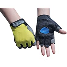 Sport Guantes, transpirable mitad Dedos Guantes para Mountain Bike Bicicleta Ciclismo antideslizante anti Schock XL 1par, Zitrone gelb
