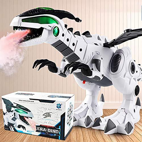 Romsion Dinosaurier-Spielzeug für Kinder, lustiges Spray, elektrischer Dinosaurier, mechanischer Dinosaurier, Spielzeug für Weihnachten, Geburtstag, Geschenk, weiß