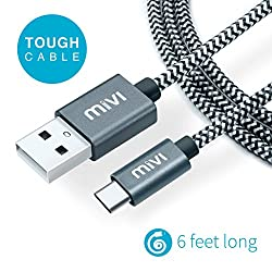Type C to USB A 6 ft long Nylon Braided Original Mivi Tough Cable for OnePlus 3, OnePlus 2, Huawei Honor Magic, Nexus 5X, Nexus 6P, Le Eco Le 2, new MacBook, ChromeBook Pixel, Gionee S6, Meizu PRO 5, Xiaomi Mi 4c, Xiaomi Mi 5, LeEco Le 1s, LeEco Le 2, Le 2 Pro, LeEco Le Max 2, Nokia N1 Tablet and many more Type C devices (Passes Google CheckR) ...