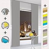 TODAMI Moderner Schiebevorhang, Flächenvorhang, Schiebegardine, einfach kürzbar, edle Leinenstruktur, blickdicht und lichtdurchlässig, 60x245 (BxH) - Grau