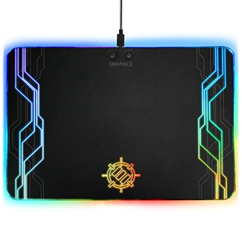 ENHANCE LED Gaming Mauspad Hard Große Oberfläche - 7 RGB Leuchten Modi, Beleuchtung Helligkeit Kontrollen mit transparenten Decals & Kanten - Ambient Desktop Lighting & Accurate Tracking