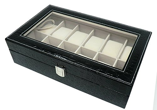 Cucuba® box cofanetto scatola custodia con vetrina portaorologi porta orologi in ecopelle 12 posti - idea regalo (colore: nero)