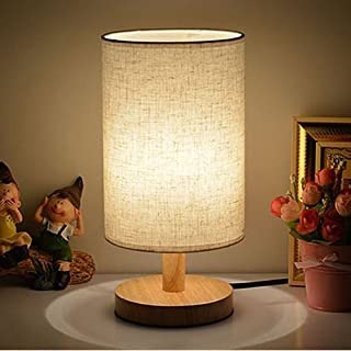 Nacht Tischlampe, EONANT Nachttischlampe mit Leinenschirm für Schlafzimmer, Wohnzimmer, Babyzimmer