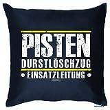 Wintersport Kissen - Skihütten Deko - Apres Ski Party Highlight : Pisten / Pisten Durstlöschzug -- Goodman Design Farbe: navy-blau