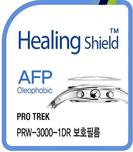Healing shield Protectores de Pantalla Oleophobic AFP Clear Film for Casio Watch Protrek PRW-3000-1DR [Front 2pcs]