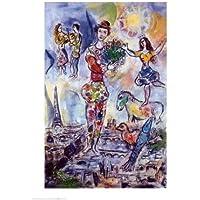 Lámina 'En los tejados de París', de Marc Chagall, Tamaño: 50 x 70 cm