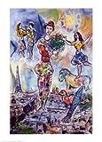 Reproduction d'art 'Sur les toits de Paris', de Marc Chagall, Taille: 50 x 70 cm