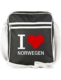 Farbe Jutebeutel Tasche Beutel Hipster Bag schwarz I love NORWEGEN