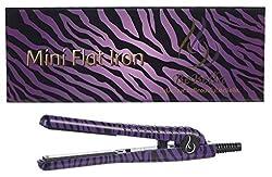 Bebella Wild Mini Collection: Professional .50 Ceramic Plates Mini Hair Straightener Flat Iron (Purple Zebra)