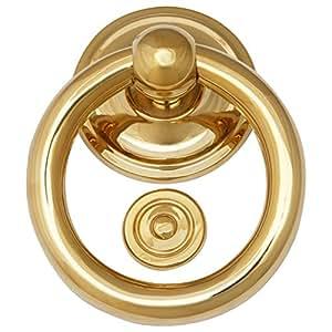 Sonnette de porte manuellement heurtoir Anneau laiton poli classique ouverture de porte Acier Top