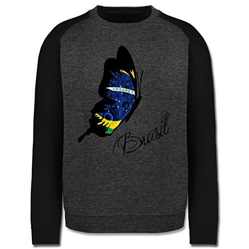 Länder - Brasil Schmetterling - Herren Baseball Pullover Dunkelgrau Meliert/Schwarz