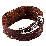 novaluna–Bracelet de Surfer 3360lix 'Angel Wings' avec une fermeture à pressions et aile d'ange Amulette–Bracelet Homme Femme Unisexe Accessoire Indien Bijoux en grès marron
