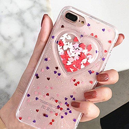 YAN Für iPhone 7 Plus Herz Glitter Pulver Schützende Rückseite Cover Soft Case ( Color : Transparent ) Transparent