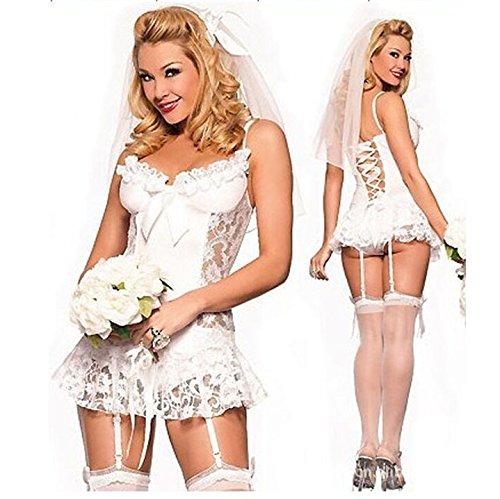 Hochzeit Unterwäsche (QIAN Unterwäsche Weiße Spitze Braut Hochzeit Set mit Strumpfband Perspektive Pyjamas)