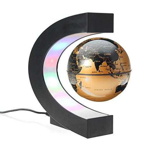 MECO Globos Terráqueos Flotante de Levitación Magnética Electrónica LED Luz Mapa Mundial Giratorio para la Decoración de Casa Educación Regalo Navidad Dorado