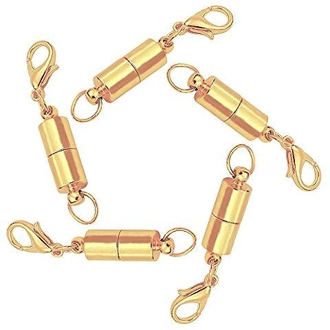 AIU 5 Stück DIY Magnetverschluss Kettenverschluss für Schmuck Halskette Armband (Gold)