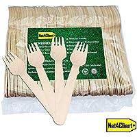 Net4Client 100 x Tenedores Para Cubiertos Desechables de Madera Uso único Vajilla Ecológica Vajilla Desechable Cubiertos Biodegradables Natural Ecológico y Compostable