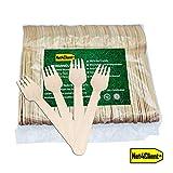 Net4Client 100 x Forchette Monouso in Legno Posate Monouso Articoli da Tavola Ecologici Stoviglie Monouso Posate Biodegradabili Eco-compatibili e Compostabili