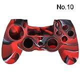 SODIAL(R) Funda silicona protectora para PS4 Camuflaje Camo Controlador Mod CALIENTE - Negro y rojo