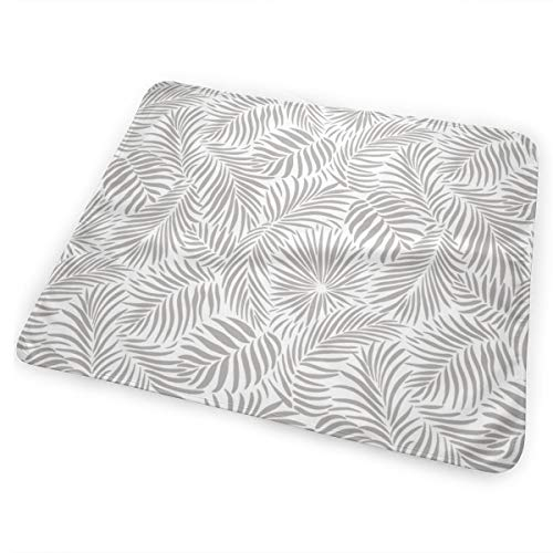 Palm Leaves - White Grey - Tropical Design For Beach And Swim Washable Incontinence Pad Baby Changing Pad Pet Mat Large Size 25.5 x 31.5 inch (65x80 cm)
