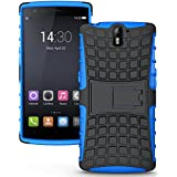 Defender Hard Armor Hybrid Rubber Bumper Flip Stand Rugged Back Case Cover for OnePlus One - Blue