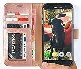 Custodia S7 Edge, Abacus24-7 Galaxy S7 Edge Custodia a portafoglio [Ecopelle Oro Rosa] con Sopporto pieghevole e Tasche interne per carte di credito o d'identita - Samsung Galaxy S7 Edge Cover