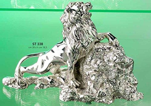 Scultura leone su roccia che ruggisce cm 28x18,50 - moda argenti - laminato argento made in italy rifinita