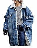 Winter Damen Lang Felljacke Jeansjacke Blau Steppjacke Mantel Fleecejacke (XXL, Blau)