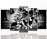 Berger Designs Sport Bild Offensive_Line, auf Leinwand und Holzkeilrahmen - Beste Qualität, Handgefertigt in Deutschland (5 Teilig 80x160 cm)