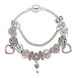 Alloy Heart Diamond Key Pink Pendant Beaded Bracelet , 20cm