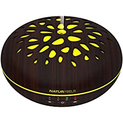 NATURFEELS Humidificador aromaterapia - Difusor de aceites esenciales - Ultrasonico, Silencioso, Ionizador, Universal - Ambientador para el hogar - 400ML - 7 colores Programables, Temporizador