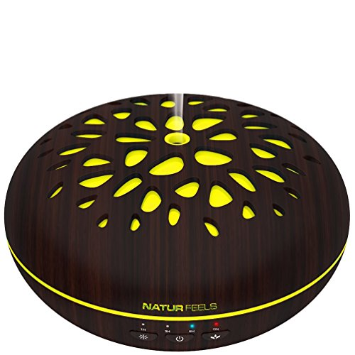 NATURFEELS Aromatherapy humidifier - Essential oil diffuser - Ultrasonic, Silent, Ionizer, Universal - Home air freshener - 400ML - 7 Programmable colors, Timer