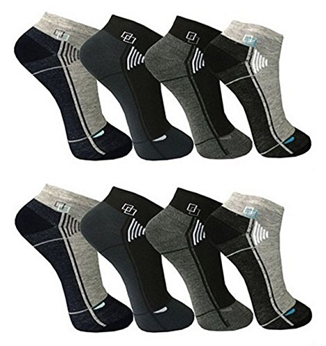 Bestsale247, 12paia di calzini fantasmini da uomo, per sport e tempo libero, in cotone, misura 39-42, 43-46, fantasia 4, 43-46