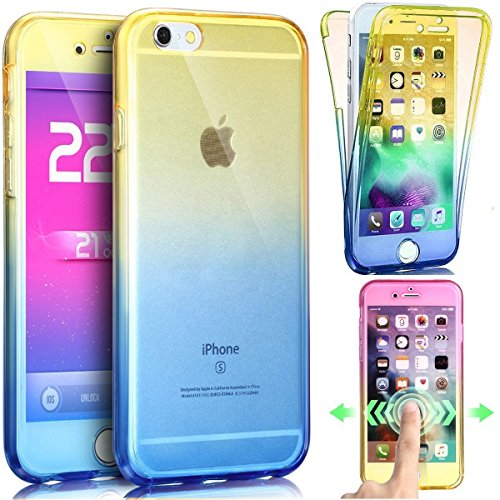 Cuatodia iPhone 7,Cover iPhone 7,Etsue 360 Gradi Ultra Sottile Tpu Transparente Completa Protettiva Caso Cover,Chiaro Cristallo Gradiente Disegno in Silicone Bumper Custodia di Protezione Ultra Slim T giallo+blu