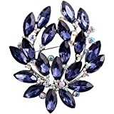Sanwood Women Sapphire Blue Flower Brooch Pin Wedding Party
