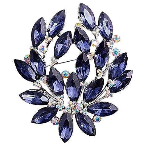 Sanwood Women Sapphire Blue Flower Brooch Pin Wedding Party