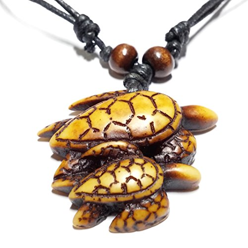 tte mit Anhänger, ausziehbar, Meeresschildkröten Braun Schildkröte-Mutter mit Baby Kunststoff-verstellbar von 53 bis 103 cm ()