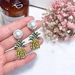 HOX Pendientes de piña hipoalergénicos de moda con perlas asimétricas y gemas para mujer