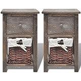 Nachttische 2er Set Nachtschränkchen Holz Nachtkommoden Braun 28 x 31 x 45 cm