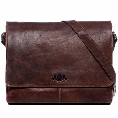 SID & VAIN Laptoptasche Messenger Bag Leder Spencer XL groß Businesstasche 15 Zoll Laptop Umhängetasche herausnehmbare Schutzhülle bis 15,4 Zoll + DIN A4 Ordner echte Ledertasche Damen Herren braun