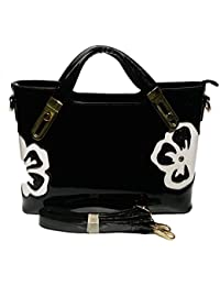 Magnolia Handbag For Women In Black Colour Flower Design With Long Belt And Three Compartment