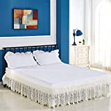 EDTara 3 Sided Elastic Princess Style Lace Wrapped Drop Bed Skirt Decoration Beige Queen 150 * 200cm Birthday Christmas Gift