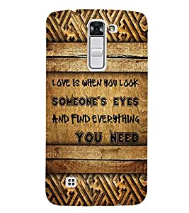Fiobs Designer Phone Back Case Cover LG K7 :: LG K7 Dual SIM :: LG K7 X210 X210DS MS330 :: LG Tribute 5 LS675 ( Love Quotes Wood Look )