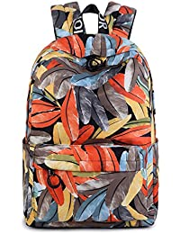 Water-Resistant School Backpack, Betiteto Fashion Leaves School Bookbags Daypack Fits 14inch Laptop For Girls...