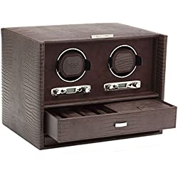Wolf Blake Double 2.7 Automated Mechanical Lockable Watch Winder - Brown Lizard