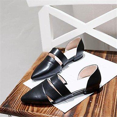 LQXZM Les chaussures de toile PU Confort confort décontracté ressort plat blanc Black