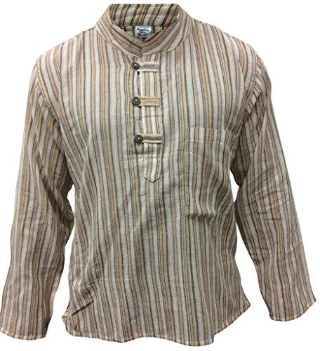 Multicolore mix dharke Rayures léger confortable manches longues traditionnel Chemise Grand-père,hippie boho,s m l xl xxl xxxl l.Gris mix