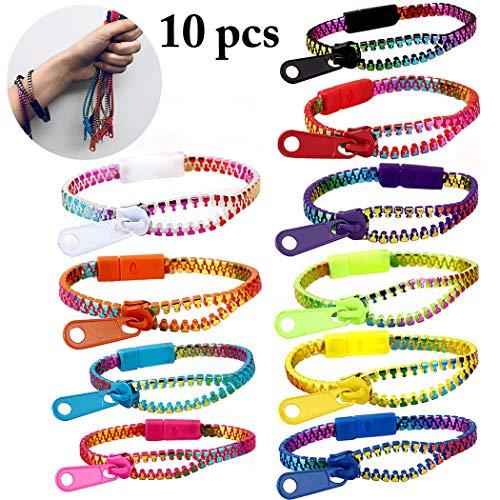 JUSTDOLIFE 10 StÜcke Kinder Verschiedene Sensorische Armband Freundschaft Zappeln Armband Reißverschluss Armband für Party (Faktor Halloween Angst-spiel Für)