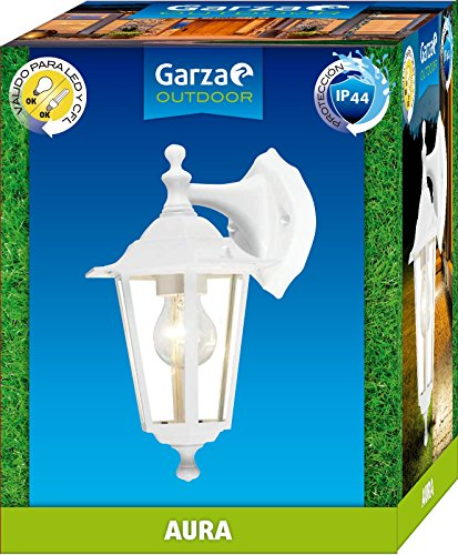 Garza Lighting Outdoor - Aplique Descendente AURA, Casquillo E27, Protección IP44 contra Polvo y Agua, Válido para LED y CFL, color Blanco